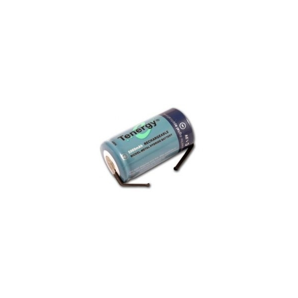 NiMH battery C 5000 mAh flat head with tabs - 1,2V - Tenergy