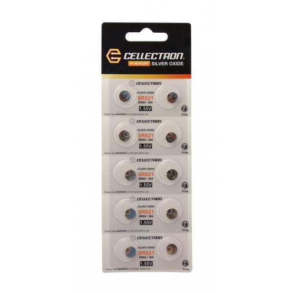 SR621 10 Silver Oxide battery SR621 / SR60 / 364 1,55V Cellectron