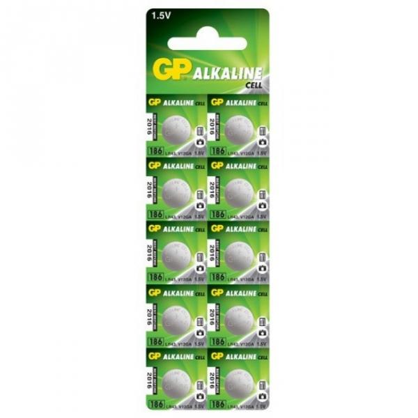 Alkaline button cell battery 10 x GP 186 / LR43 / V12GA - 1,5V - GP Battery