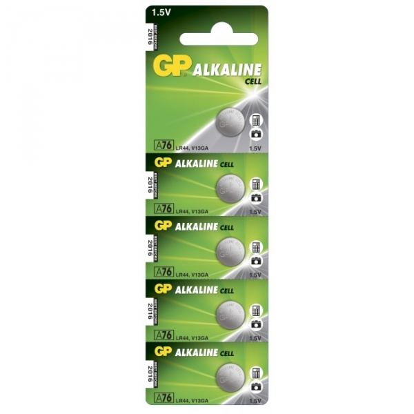 Alkaline button cell battery 5 x GP A76 / LR44 / V13GA - 1,5V - GP Battery