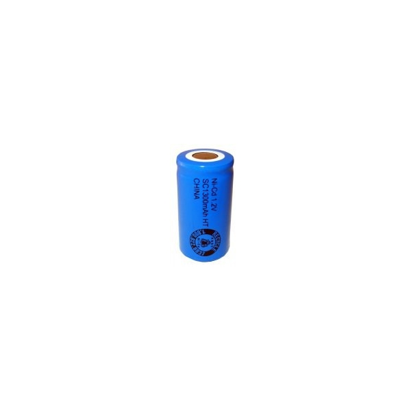 NiCD battery Sub C 1300 mAh flat head - 1,2V - Evergreen