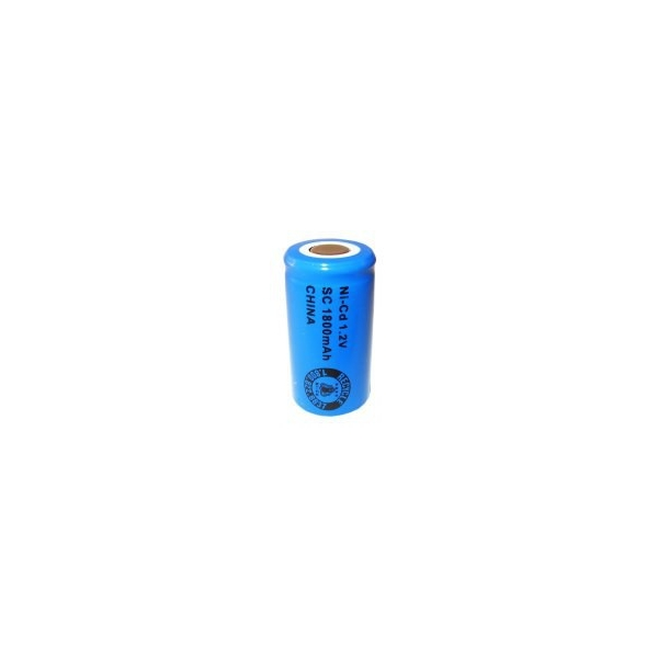 NiCD battery Sub C 1800 mAh flat head - 1,2V - Evergreen